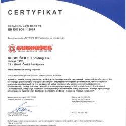 Certyfikat EN ISO 9001 2015 KUBOUSEK