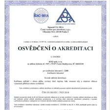 Osvědčení o akreditaci - akreditovaná kalibrační laboratoř KSQ